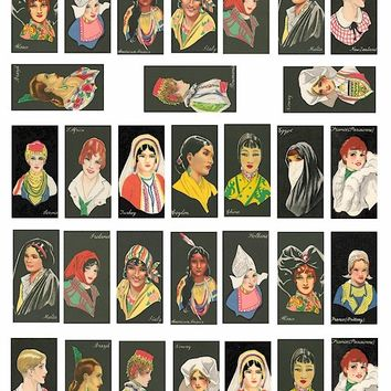 international women vintage clip art collage sheet 1 BY 2 inch digital download graphics domino pendant images cigarette cards printable