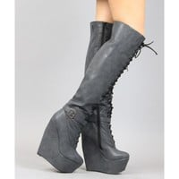 Qupid Stuckup-04 Thigh High Faux Leather Almond Toe Lace Up Wedge Boots
