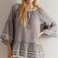 Solid Guise Ruffled Peasant Blouse - Mocha