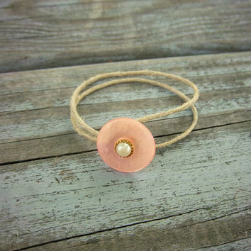 Upcycled Pink Vintage Button Minimalist Hemp Bracelet Hippie Boho Jewelry
