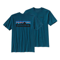 Patagonia P-6 Logo Cotton Pocket T-Shirt- Crater Blue
