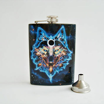 Wolf Hip Flask, Constellation wolf, Pocket flask, Flask 8oz + Funnel, Metal flask, A steel flask, Whiskey, liqueur, alcohol flask