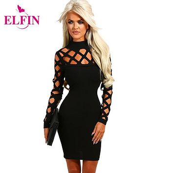 Vestidos Sexy Women Dress Hollow Out Long Sleeve Slim Fit Bodycon Dresses Party Mini Solid Plus Size Roupa Feminina LJ7411R