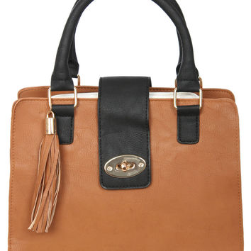 Adeline Colour Block Stuctured Bag in Tan Brown