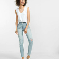 High Waisted Distressed Cropped Jean Legging from EXPRESS