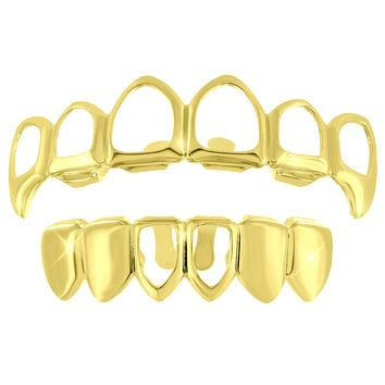 Cut Out Top Bottom Grillz 14k Yellow Finish Halloween Sale
