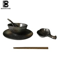 5pcs Japanese Style Vintage Ceramic Tableware Set 1 Person Dinner Sets Creative Home Portable Cutlery Sets Plate Bowl Dish Spoon