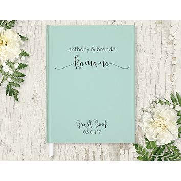 Wedding Guest Book, Hardcover, Modern Mint, Choice of Colors & Sizes