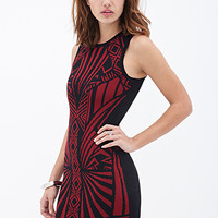 FOREVER 21 Abstract Cutout Sweater Dress Black/Burgundy