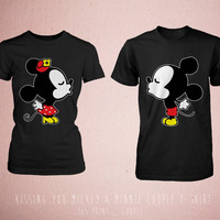 Disney Couple Matching Shirts - Cute Couples Kissing You Mickey and Minnie Mouse Black Tops Romantic Couples Shirt