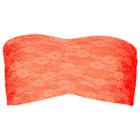 Fluro Orange Lace Bandeau - New In - Topshop