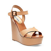 Black & Nude Leather Wedge Sandals | Steve Madden KEVIEE