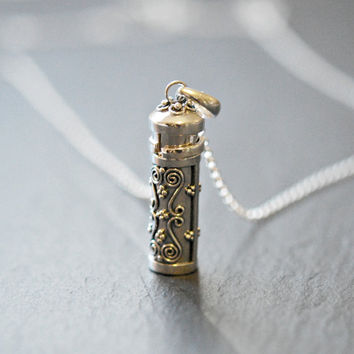 Stash necklace, sterling silver prayer box pendant, snuff pendant, wish box, poison tube, cylinder, cremation, urn, secret jewelry, fortune5