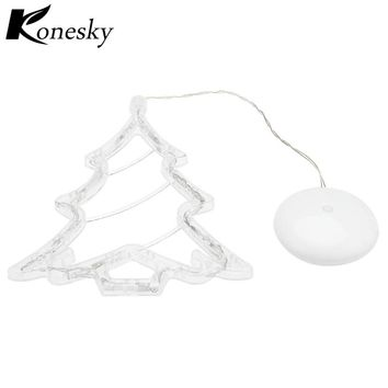 LED Lamp Christmas Tree Decoration with Sucker Festive Lamp for Glass Window indoor