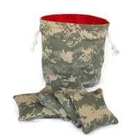 Bucket Bag ACU Twill & Red Flannel with four matching ACU Bean Bags Childrens Toy - US Shipping Included