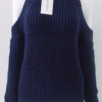 Turtleneck Off shoulder Knitted Pullovers Sweater