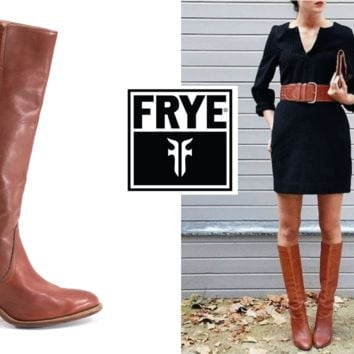 FRYE Boots Size 8 Vintage 70s Knee High Tawny Red-Brown Stacked Heel Boots