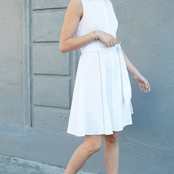White Caprice Fit and Flare Dress