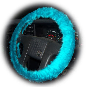 Teal Turquoise steering wheel cover faux fur furry fluffy fuzzy car camper van truck aqua sky blue green plain sea pretty Celeste aquamarine