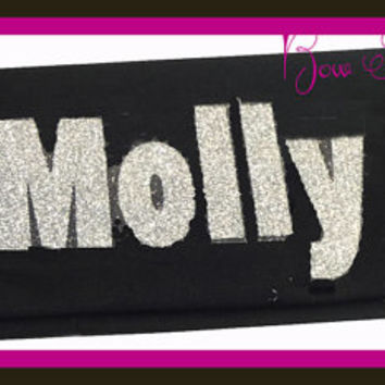 Name Bling Headband Stretch Sports Spirit Wear Sparkle Girls Custom Design your own Colors,  Team Name Birthday Personalized Glitter
