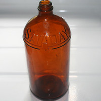Brown Glass Sav A Day Bottle,Vintage Collectible,Home decor