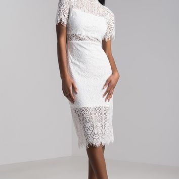 AKIRA Sheer Lace Overlay Partly Lined Floral Midi Dress in Red, White