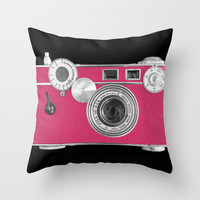 Pink Fashion Camera Throw Pillow by Wood-n-Images | Society6