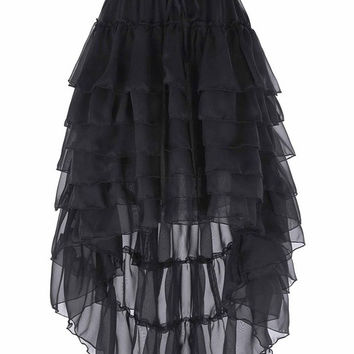 Belle Poque Women Amelia Skirt 2017 Steampunk High Low Sexy Black Chiffon saia midi Ruffle Lace Cake Skirt Popular Womens Skirts