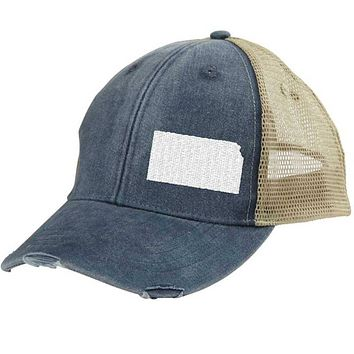 Kansas  Hat - Distressed Snapback Trucker Hat - off-center state pride hat - Pick your colors