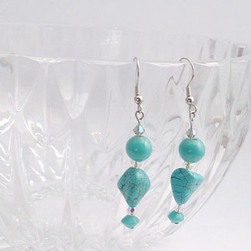 Simple Turquoise beaded glass earrings