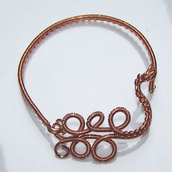 Wire Wrapped Copper Bangle Bracelet, Cuff Bracelet, OOAK