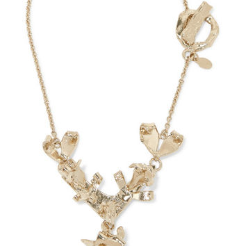 Valentino - Hammered gold-tone necklace