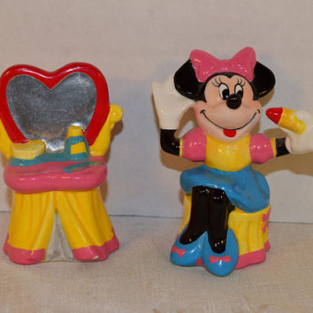 Disney Minnie Mouse and Vanity Salt and Pepper Shaker Set Vintage Walt Disney World Collectible Minnie Mouse Shaker Set Disneyland Cartoon