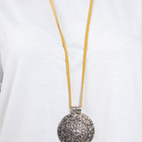 Large Engraved Medallion Necklace - Yellow Leather