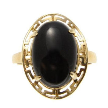 GENUINE NATURAL CABOCHON BLACK CORAL RING SOLID 14K YELLOW GOLD GREEK DESIGN