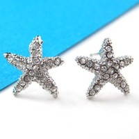 Small Starfish Star Shaped Stud Earrings in Silver with Rhinestones by Dotoly Love