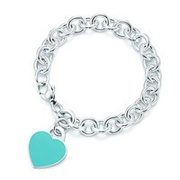 Tiffany & Co. -  Return to Tiffany™ heart tag in silver with enamel finish on a bracelet, medium.