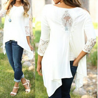 White Lace Accent Long Sleeve Asymmetrical Top