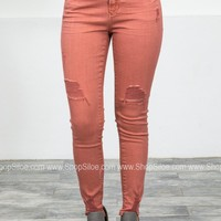 Dear John Distressed Salmon Denim