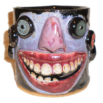 Demented Grin Cup - Ceramic Hand-built slab mug with multiple eyes and toothy grin