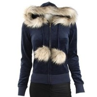 Juicy Couture Womens Fur Trimmed Velour Hoodie-Navy - Large