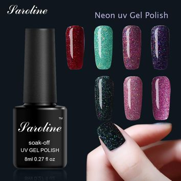 Saroline Neon Glitter UV Gel Nail Polish for Nail Design Semi Permanent Lacquer Shilak Soak Off Gel Varnish Hybrid Gel Polish