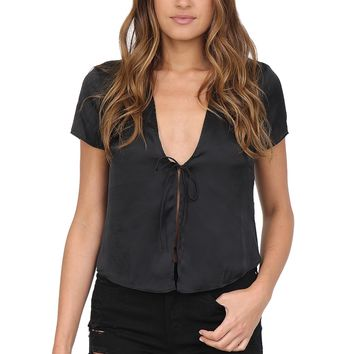 Black Silky Tie Top at Blush Boutique Miami - ShopBlush.com : Blush Boutique Miami – ShopBlush.com