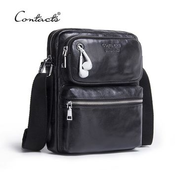 CONTACT'S Genuine Leather Men Bag Male Shoulder Crossbody Bags Messenger Small Flap Casual Handbags Commercial Briefcase Bag