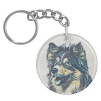 Shetland Sheepdog Painting Custom Keychain