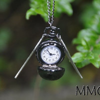 Harry Potter Magical Fantasy Flying Pocket Watch Necklace with Silver Wings Gift for Him Gift for Her