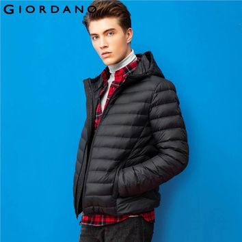 Giordano Men Down Jacket Slim Hooded Jacket Long Sleeves Warm Winter Coat Solid Casual Mens Top Brand Clothing New Arrivals