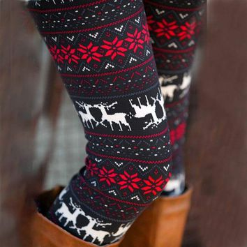 Holiday Christmas Leggings Reindeer Snowflake Printed Soft ONE SIZE