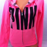 NEW~ Victoria's Secret PINK NEON PINK Graphic Funnel Neck Hoodie SZ: Small