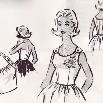 Vintage 50s Sewing Pattern - Sexy Gather Neck Halter Top & Sleeveless Blouse w/ Rose Iron On - Mail Order 2-651, Bust 32 34 36, Unused
